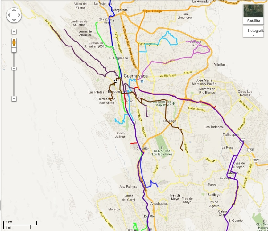 Mapa de Las Rutas: